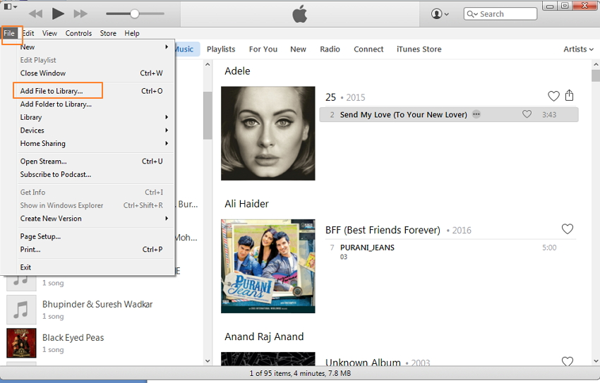 Transfer Audiobooks to iPod Using iTunes-add audiobook to iTunes library