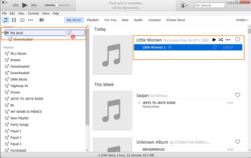 使用iTunes将有声读物传输到iPod  - 选择有声读物