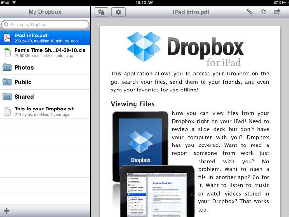 Transfira arquivos do PC para o iPad Dropbox