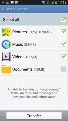 step 4 to transfer music from Samsung to Samsung