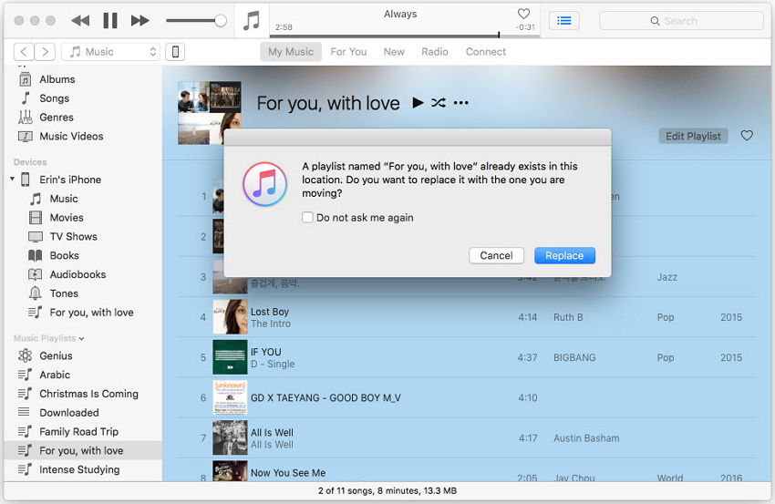 how to transfer playlists from itunes to iphone-replace the playlist