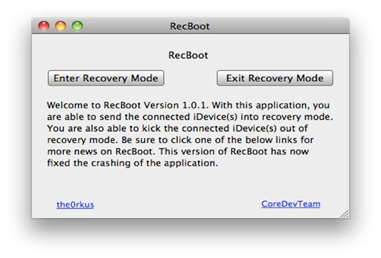 DFU mode tool Recboot