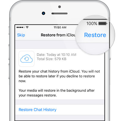restore whatsapp backup iphone from icloud