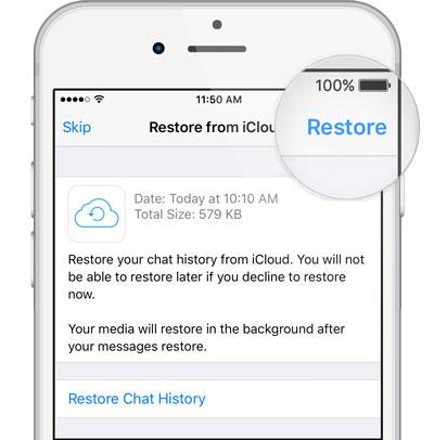 restore whatsapp backup iphone from icloud
